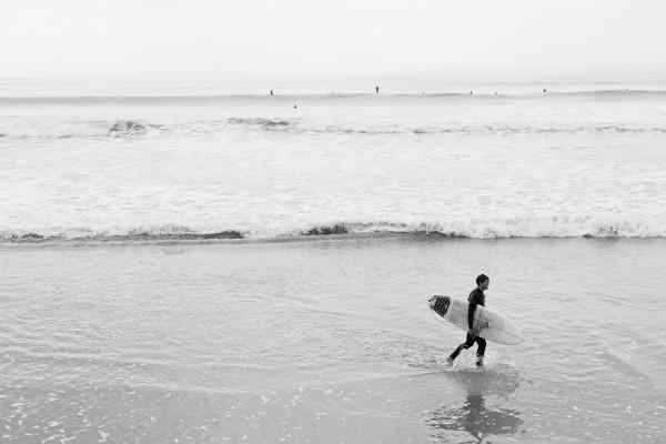 Surfer at Rincon Beach / Seacliff / Pacific Coast Highway